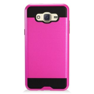 Insten Hot Pink/ Black Chrome Hard Plastic Dual Layer Hybrid Brushed Case Cover For Samsung Galaxy J7 (2016)