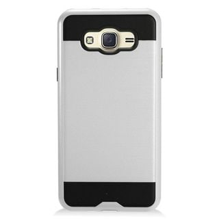 Insten Silver/ Black Chrome Hard Plastic Dual Layer Hybrid Brushed Case Cover For Samsung Galaxy J7 (2016)