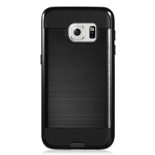 Insten Black Chrome Hard Plastic Dual Layer Hybrid Brushed Case Cover For Samsung Galaxy S7