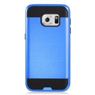 Insten Blue/ Black Chrome Hard Plastic Dual Layer Hybrid Brushed Case Cover For Samsung Galaxy S7
