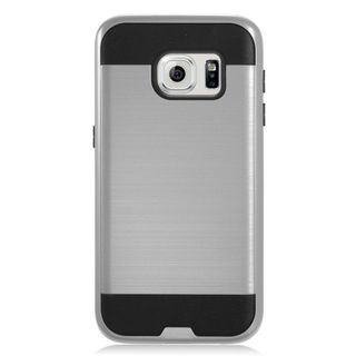 Insten Gray/ Black Chrome Hard Plastic Dual Layer Hybrid Brushed Case Cover For Samsung Galaxy S7
