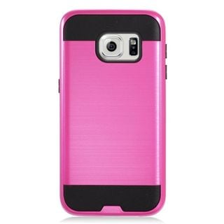 Insten Hot Pink/ Black Chrome Hard Plastic Dual Layer Hybrid Brushed Case Cover For Samsung Galaxy S7