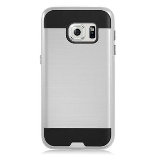 Insten Silver/ Black Chrome Hard Plastic Dual Layer Hybrid Brushed Case Cover For Samsung Galaxy S7