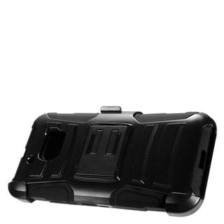 Insten Black Advanced Armor Hard PC/ Silicone Dual Layer Hybrid Case Cover with Stand/ Holster For HTC 10