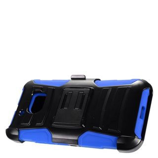 Insten Black/ Blue Advanced Armor Hard PC/ Silicone Dual Layer Hybrid Case Cover with Stand/ Holster For HTC 10