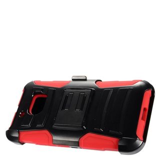 Insten Black/ Red Advanced Armor Hard PC/ Silicone Dual Layer Hybrid Case Cover with Stand/ Holster For HTC 10