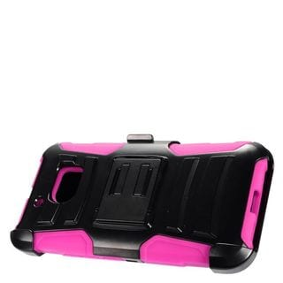Insten Black/ Hot Pink Advanced Armor Hard PC/ Silicone Dual Layer Hybrid Case Cover with Stand/ Holster For HTC 10