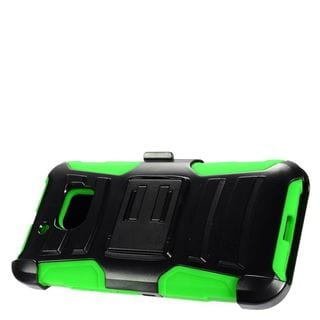 Insten Black/ Green Advanced Armor Hard PC/ Silicone Dual Layer Hybrid Case Cover with Stand/ Holster For HTC 10