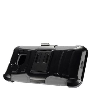 Insten Black/ Gray Advanced Armor Hard PC/ Silicone Dual Layer Hybrid Case Cover with Stand/ Holster For HTC 10