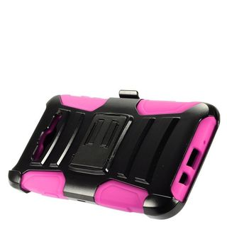 Insten Black/ Hot Pink Advanced Armor Hard PC/ Silicone Dual Layer Hybrid Case Cover with Stand For Samsung Galaxy J7 (2015)