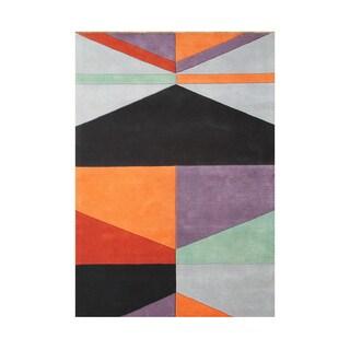 Alliyah Rugs Multicolored Wool Geometric Area Rug