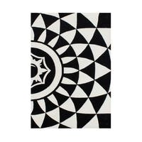 Alliyah Rugs Intricate Design Black/Off-white Wool Handcrafted Area Rug (5 x 8)