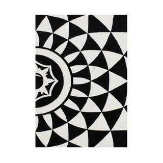 Alliyah Geometric Black/Off-white Handcrafted Rug (8' x 10')