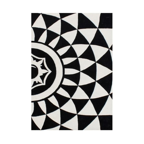 Alliyah Geometric Black/Off-white Handcrafted Rug - 8' x 10'