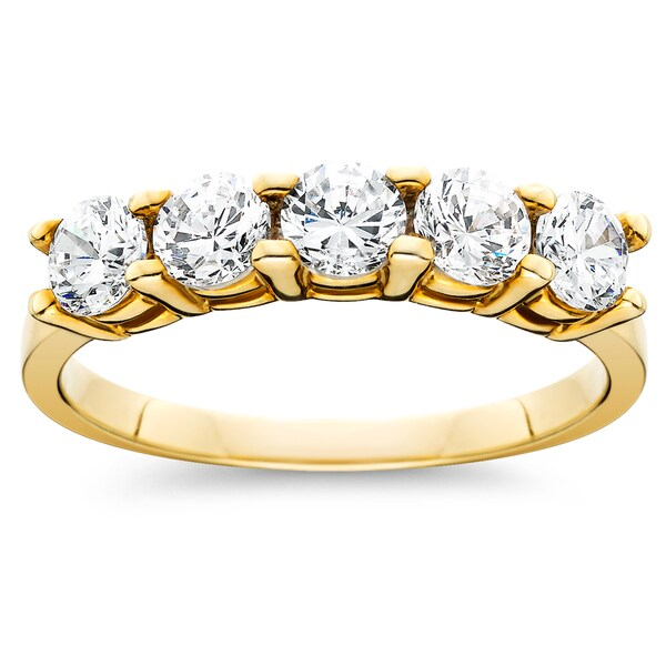 14k Yellow Gold 1ct TDW Diamond 5-Stone Womens Wedding Anniversary Ring (I-J, I2-I3)