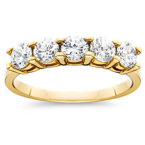 14k Yellow Gold 1ct TDW Diamond 5-Stone Womens Wedding Anniversary Ring (I-J, I2-I3) - White