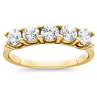 14k Yellow Gold 1ct TDW Diamond 5 Stone Womens Wedding Anniversary Ring  (I J,