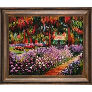 Claude Monet 'Artist's Garden at Giverny' Hand Painted Framed Oil Reproduction on Canvas