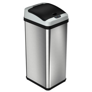 halo 13 Gallon Rectangular Extra-Wide Stainless Steel Automatic Sensor Trash Can - Platinum