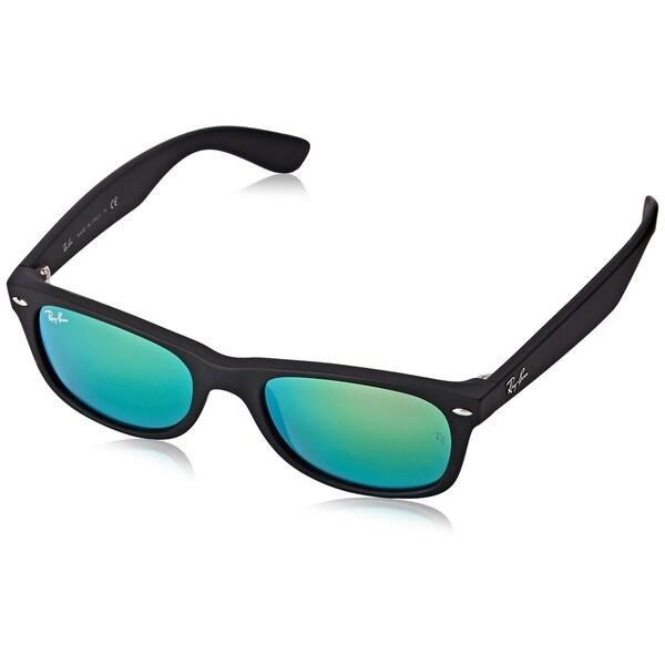 4c8c64ce28e Ray-Ban New Wayfarer Flash RB2132 Matte Black Frame Green Flash 52mm Lens  Sunglasses