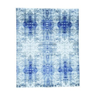 1800GetARug Hand-Knotted Blue Wool and Silk Modern Abstract Design Oriental Rug (8' x 10')