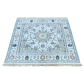 Shahbanu Rugs Hand-Knotted Wool and Silk 250 Kpsi Ivory Nain Square Rug (3'0x3'1)