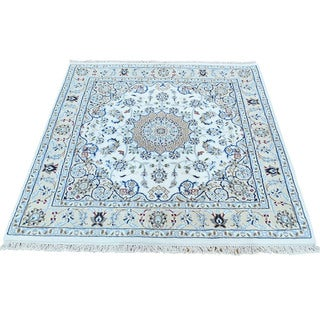 Shahbanu Rugs Handmade Ivory Wool and Silk 250 KPSI Nain Square Oriental Rug