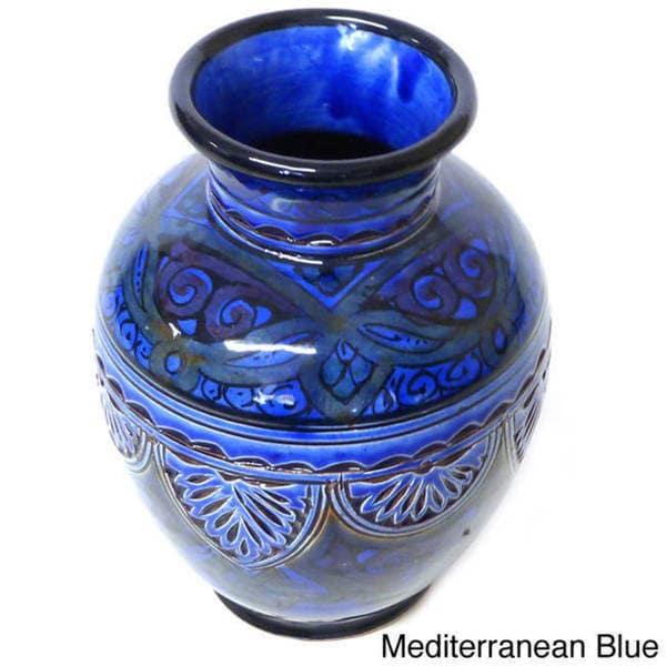 Engraved Ceramic Vase  , Handmade in Morocco