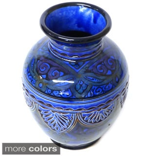 Engraved Ceramic Vase , Handmade in Morocco