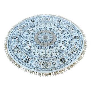 1800GetARug Round Hand-Knotted Ivory Wool and Silk 250 KPSI Nain Rug (4'1 x 4'1)
