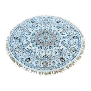Shahbanu Rugs Hand-knotted Nain Ivory Wool and Silk 250 Kpsi Round Rug (4'1 x 4'1)