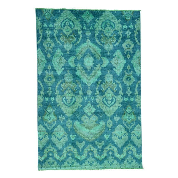 Shop Shahbanu Rugs Ikat Oriental Teal Cast Overdyed Pure