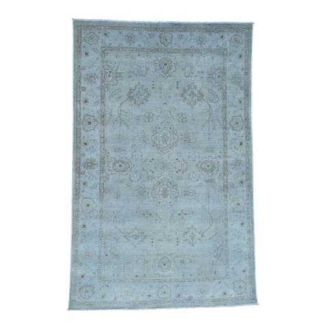 Shahbanu Rugs Hand-knotted Peshawar Silver Wash Blue Pure Wool Oriental Rug (5'10 x 8'9)