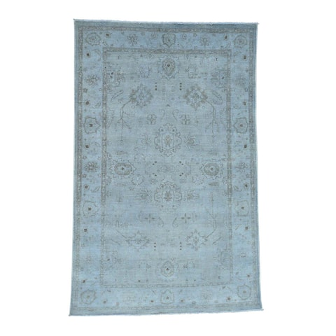 Shahbanu Rugs Hand-knotted Peshawar Silver Wash Blue Pure Wool Oriental Rug (5'10 x 8'9)