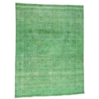 1800GetARug Hand-knotted Persian Tabriz Oriental Green Overdyed Pure Wool Area Rug (9'7 x 12'10)