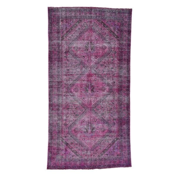 2 Shahbanu Rugs Overdyed Persian Shiraz Pure Wool Wide Handmade Runner Rug 5feet  3