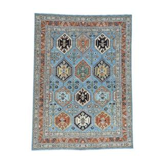 Hand-knotted Afghan Ersari Blue Wool Oriental Rug (10'2x14')