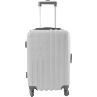 Lulu Castagnette Embossed Silver 28-inch Expandable Hardside Spinner Suitcase