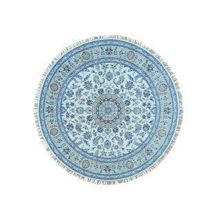 Shahbanu Rugs Ivory/ Blue Wool and Silk 250 Kpsi Nain Oriental Hand-knotted Rug (8' Round)