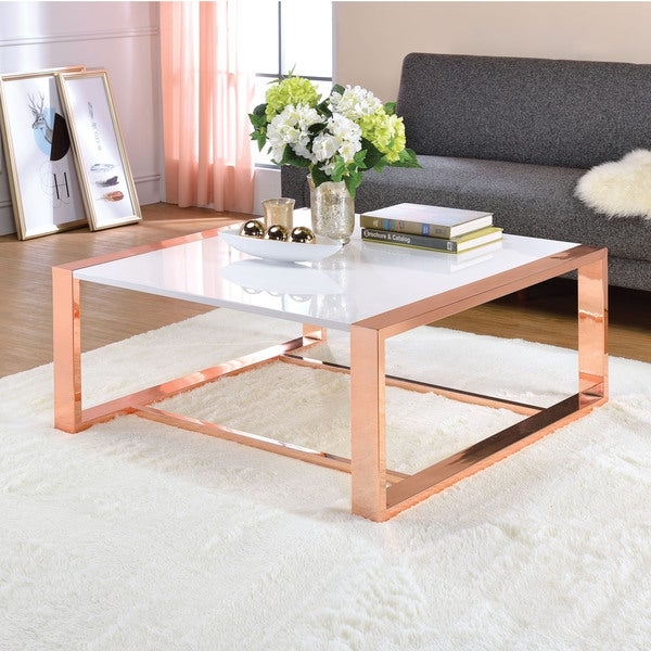 shop acme furniture porviche white high gloss and rose gold coffee table free shipping today. Black Bedroom Furniture Sets. Home Design Ideas