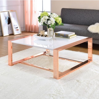 Acme Furniture Porviche White High Gloss and Rose Gold Coffee Table