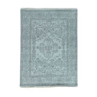 1800getarug Hand-Knotted 100 Percent Wool Tone on Tone Heriz Oriental Rug (4'10x6'7)