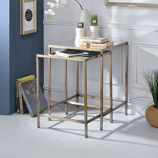 Acme Furniture Yumia Mirror and Antique Brass Nesting Tables (Set of 2)