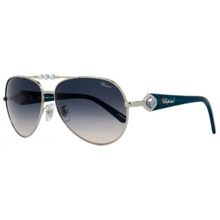 Chopard Women's Palladium/Turquoise Frame Grey Gradient Lens Sunglasses