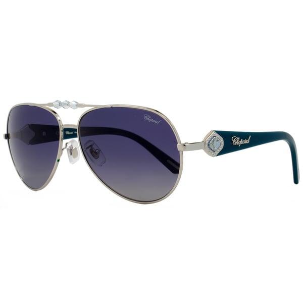da0c8f8204 Shop Chopard Women s SCH997S 579P Palladium Turquoise Frame Blue Grey  Gradient Polarized Lens Sunglasses - Free Shipping Today - Overstock -  15312209