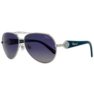 Chopard Women's SCH997S 579P Palladium/Turquoise Frame Blue/Grey Gradient Polarized Lens Sunglasses