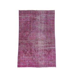 1800getarug Hand-Knotted Pink Overdyed Mashad Pure Wool Worn Rug (4'1x6'6)