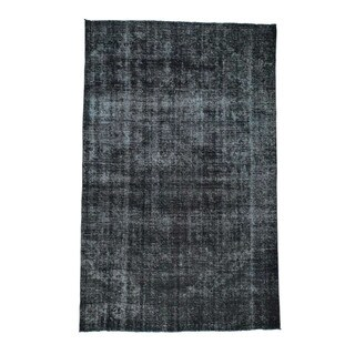 1800GetARug Tabriz Black Wool Overdyed Hand-knotted Gallery-size Area Rug (7'4 x 11'8)