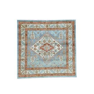 1800GetaARug Handmade Choeb Rang Blue/Multicolor Wool Tribal and Geometric Square Oriental Rug (6'0 x 6'1)