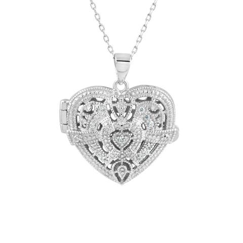 """Sterling Silver Cubic Zirconia Intricate Design Heart Locket Pendant Necklace, 18"""""""